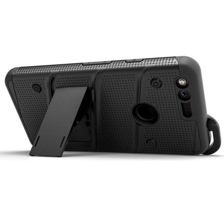 with the animal zizo bolt series google pixel xl tough case belt clip red black run